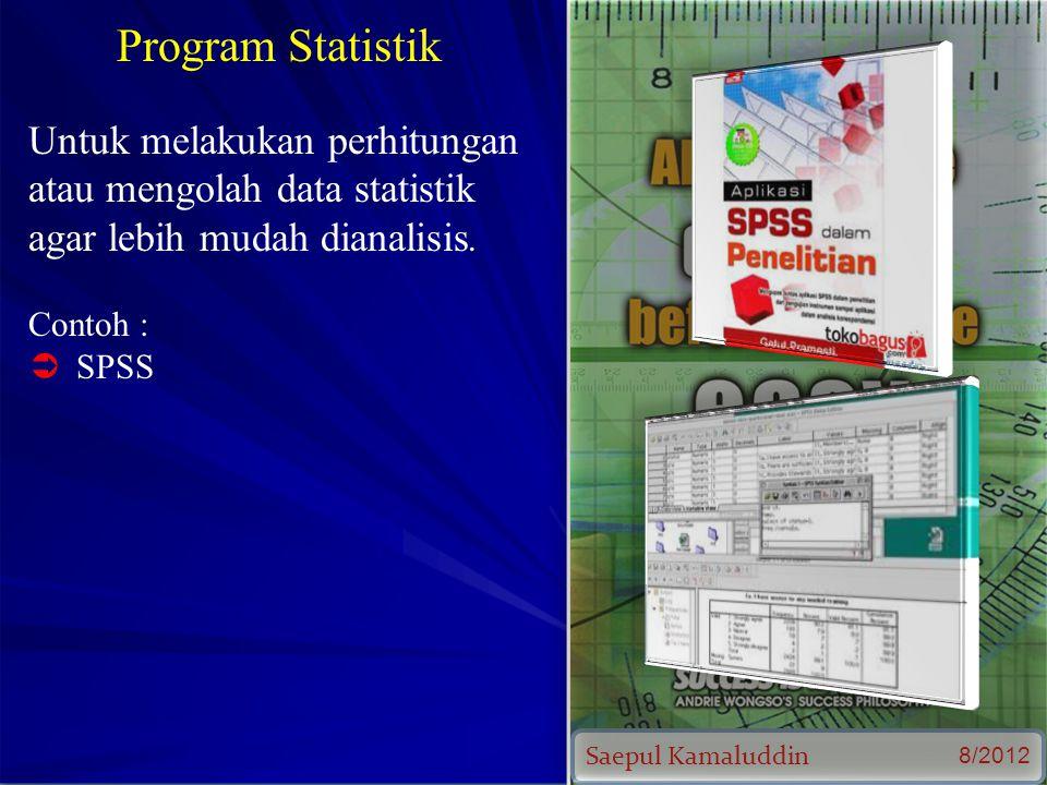 Saepul Kamaluddin 8/2012 Program Statistik Untuk melakukan perhitungan atau mengolah data statistik agar lebih mudah dianalisis.