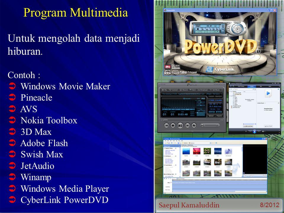 Saepul Kamaluddin 8/2012 Program Multimedia Untuk mengolah data menjadi hiburan.