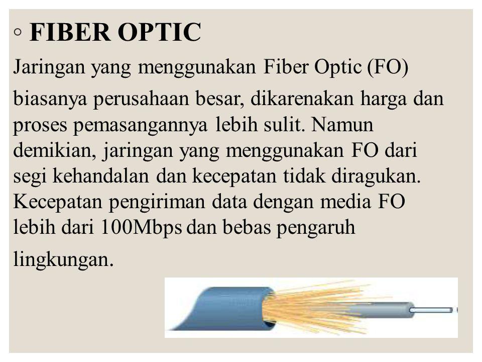 ◦ FIBER OPTIC Jaringan yang menggunakan Fiber Optic (FO) biasanya perusahaan besar, dikarenakan harga dan proses pemasangannya lebih sulit. Namun demi