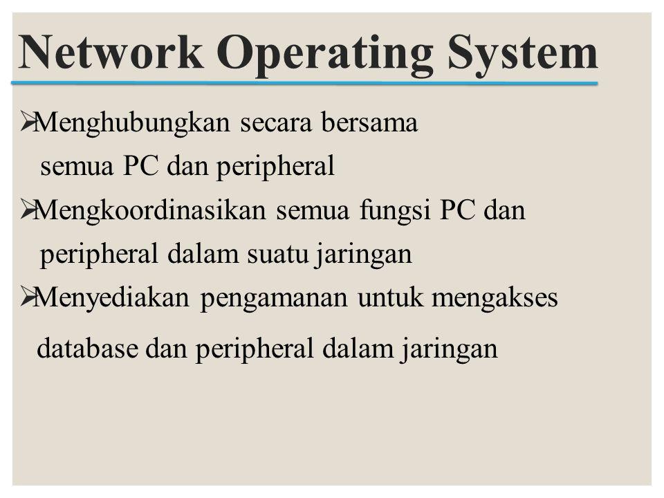  Menghubungkan secara bersama semua PC dan peripheral  Mengkoordinasikan semua fungsi PC dan peripheral dalam suatu jaringan  Menyediakan pengamana