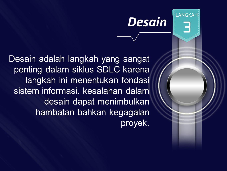Desain Desain adalah langkah yang sangat penting dalam siklus SDLC karena langkah ini menentukan fondasi sistem informasi.