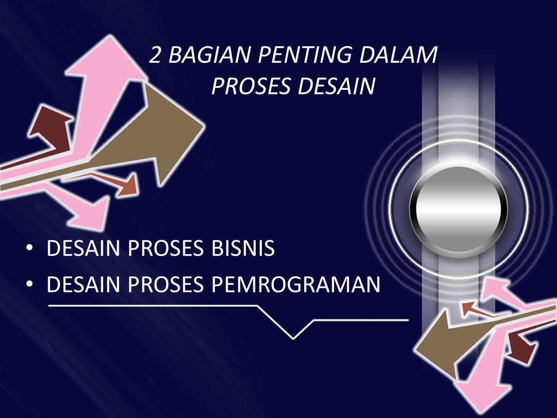 2 BAGIAN PENTING DALAM PROSES DESAIN • DESAIN PROSES BISNIS • DESAIN PROSES PEMROGRAMAN