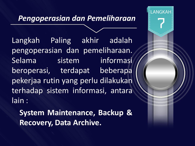 Pengoperasian dan Pemeliharaan Langkah Paling akhir adalah pengoperasian dan pemeliharaan.