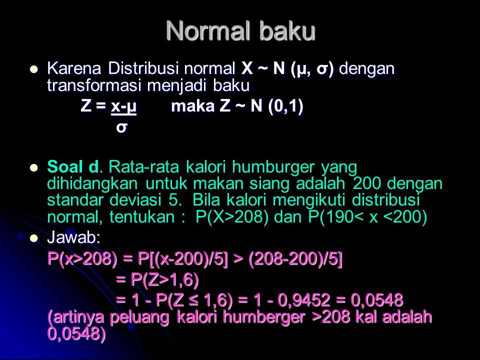 Normal baku  Karena Distribusi normal X ~ N (μ, σ) dengan transformasi menjadi baku Z = x-μ maka Z ~ N (0,1) Z = x-μ maka Z ~ N (0,1) σ   Soal d. R