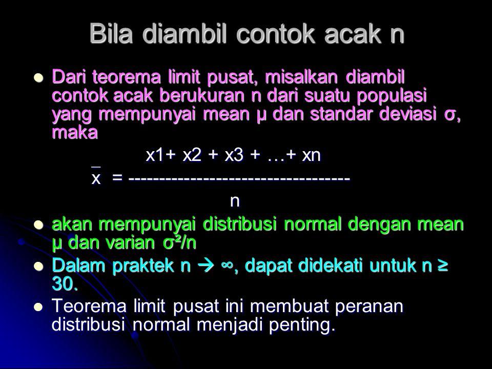 Bila diambil contok acak n  Dari teorema limit pusat, misalkan diambil contok acak berukuran n dari suatu populasi yang mempunyai mean μ dan standar