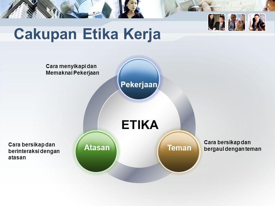 Cakupan Etika Kerja ETIKA Cara menyikapi dan Memaknai Pekerjaan Cara bersikap dan berinteraksi dengan atasan Cara bersikap dan bergaul dengan teman Pekerjaan Atasan Teman