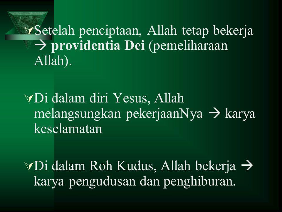  Setelah penciptaan, Allah tetap bekerja  providentia Dei (pemeliharaan Allah).  Di dalam diri Yesus, Allah melangsungkan pekerjaanNya  karya kese