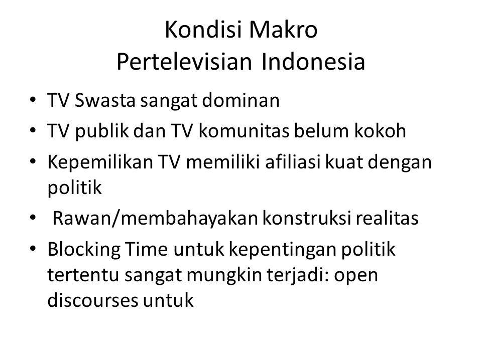 Kondisi Makro Pertelevisian Indonesia • TV Swasta sangat dominan • TV publik dan TV komunitas belum kokoh • Kepemilikan TV memiliki afiliasi kuat deng