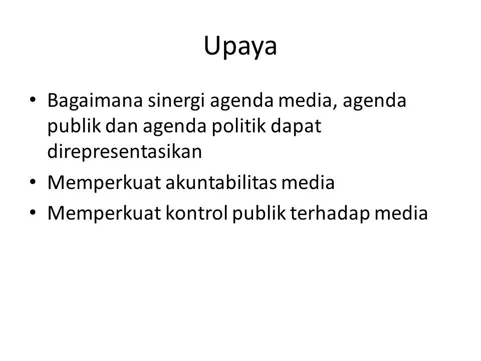 Upaya • Bagaimana sinergi agenda media, agenda publik dan agenda politik dapat direpresentasikan • Memperkuat akuntabilitas media • Memperkuat kontrol