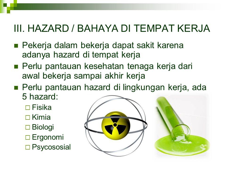 III. HAZARD / BAHAYA DI TEMPAT KERJA  Pekerja dalam bekerja dapat sakit karena adanya hazard di tempat kerja  Perlu pantauan kesehatan tenaga kerja