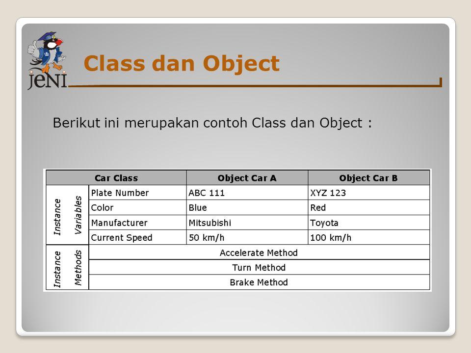 Class dan Object Berikut ini merupakan contoh Class dan Object :