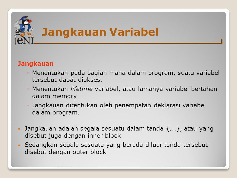 Jangkauan Variabel Jangkauan ◦Menentukan pada bagian mana dalam program, suatu variabel tersebut dapat diakses.