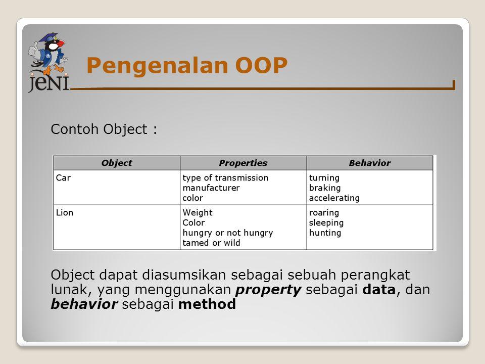 Pengenalan OOP Contoh Object : Object dapat diasumsikan sebagai sebuah perangkat lunak, yang menggunakan property sebagai data, dan behavior sebagai method