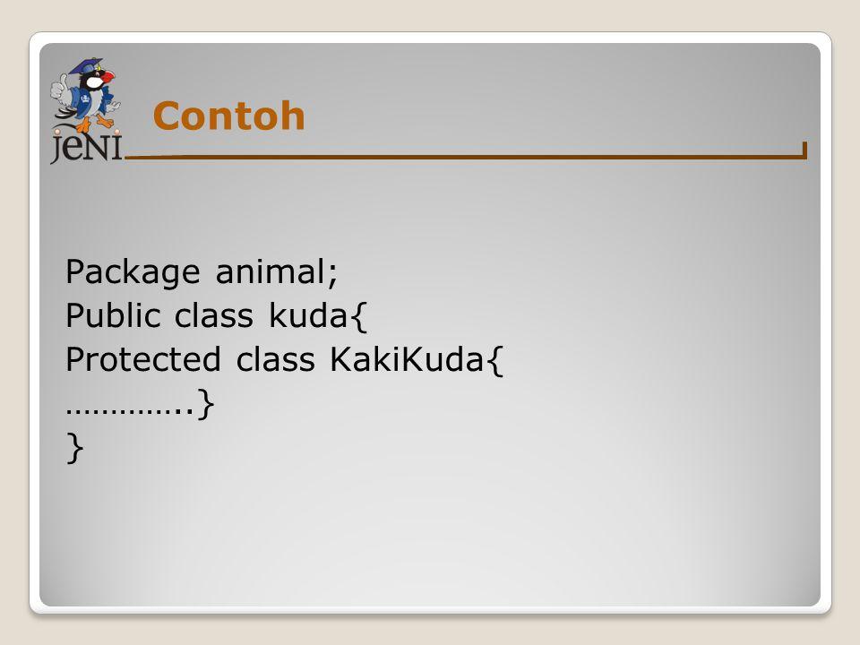 Contoh Package animal; Public class kuda{ Protected class KakiKuda{ …………..} }
