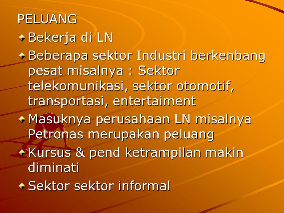 PELUANG Bekerja di LN Beberapa sektor Industri berkenbang pesat misalnya : Sektor telekomunikasi, sektor otomotif, transportasi, entertaiment Masuknya