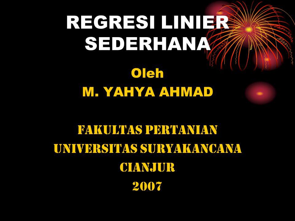 REGRESI LINIER SEDERHANA Oleh M. YAHYA AHMAD FAKULTAS PERTANIAN UNIVERSITAS SURYAKANCANA CIANJUR 2007