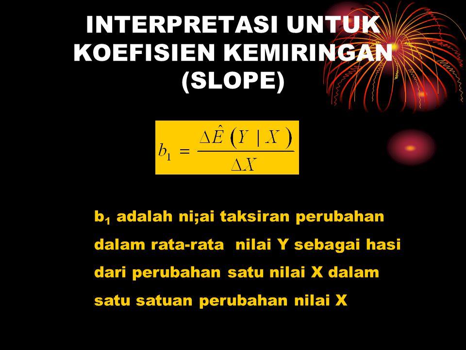 INTERPRETASI UNTUK KOEFISIEN KEMIRINGAN (SLOPE) b 1 adalah ni;ai taksiran perubahan dalam rata-rata nilai Y sebagai hasi dari perubahan satu nilai X dalam satu satuan perubahan nilai X