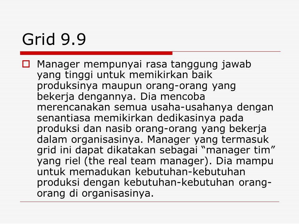 Grid 1.9  Manager mempunyai rasa tanggung jawab yang tinggi untuk selalu memikirkan orang- orang yang bekerja dalam organisasinya.