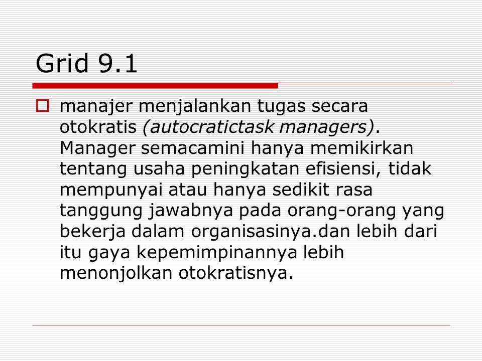 Grid 9.1  manajer menjalankan tugas secara otokratis (autocratictask managers).