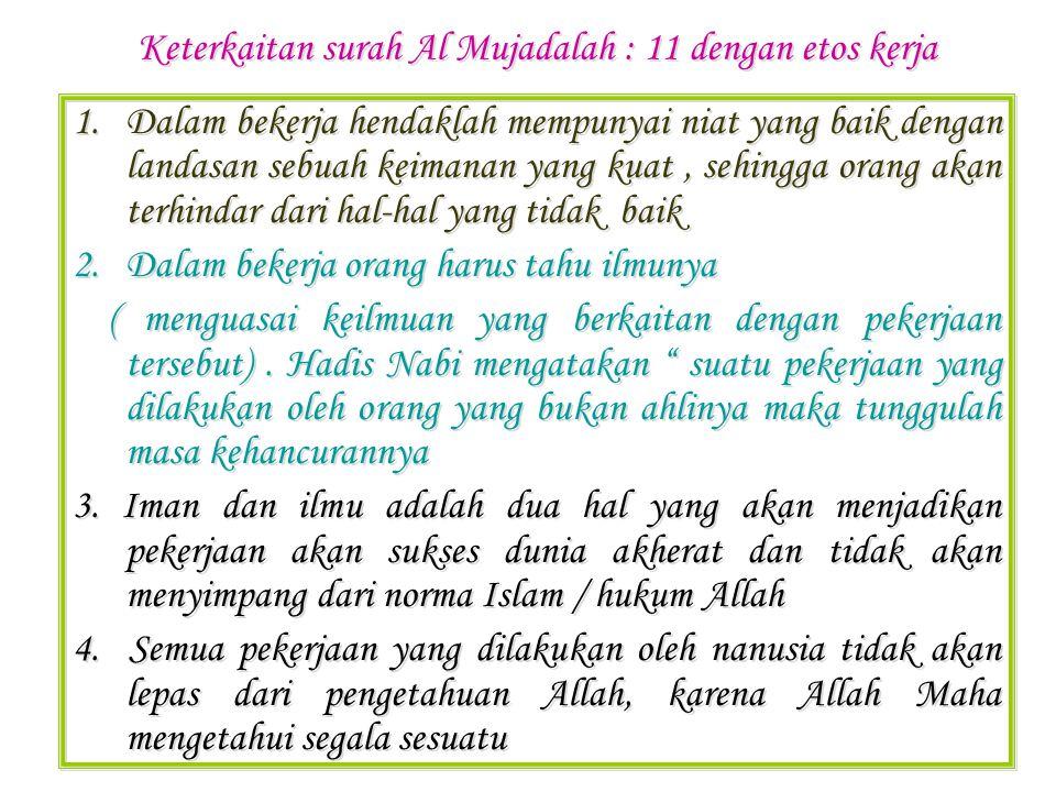 Q.S.AL JUM'AH : 9-10 Hai orang-orang yang beriman, apabila diseru untuk menunaikan shalat pada hari Jumat, maka bersegeralah kamu kepada mengingat Allah dan tinggalkanlah jual beli.