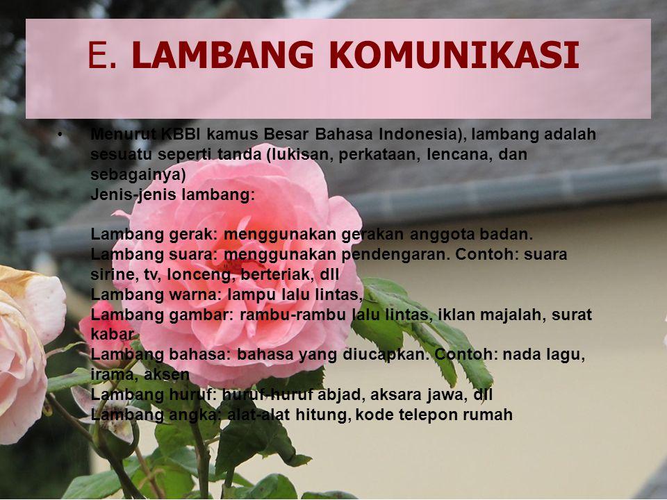 •M•Menurut KBBI kamus Besar Bahasa Indonesia), lambang adalah sesuatu seperti tanda (lukisan, perkataan, lencana, dan sebagainya) Jenis-jenis lambang: Lambang gerak: menggunakan gerakan anggota badan.
