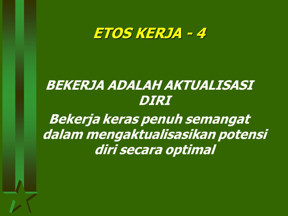 ETOS KERJA - 3 BEKERJA ADALAH PANGGILAN JIWA Bekerja secara tuntas, penuh integritas sebagai mahluk ALLAH yang melaksanakan tugas ibadah dan tugas khilafiyah