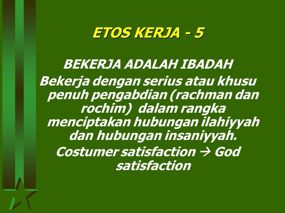ETOS KERJA - 4 BEKERJA ADALAH AKTUALISASI DIRI Bekerja keras penuh semangat dalam mengaktualisasikan potensi diri secara optimal