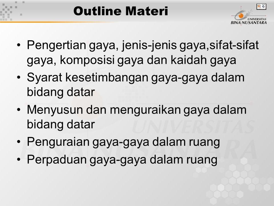 Outline Materi •Pengertian gaya, jenis-jenis gaya,sifat-sifat gaya, komposisi gaya dan kaidah gaya •Syarat kesetimbangan gaya-gaya dalam bidang datar