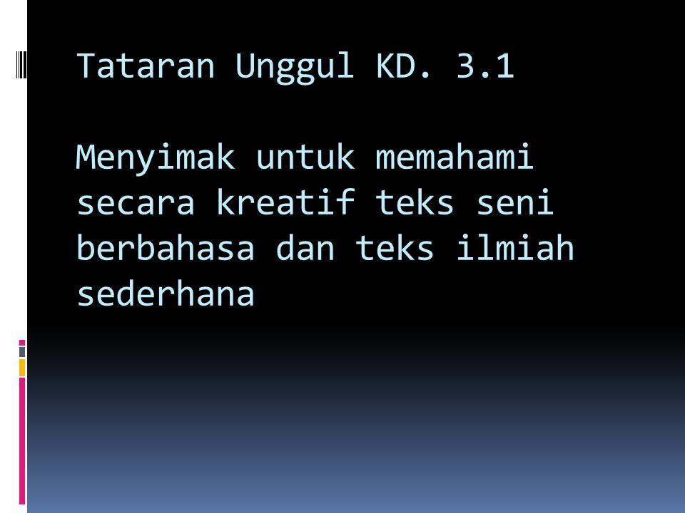 Tataran Unggul KD. 3.1 Menyimak untuk memahami secara kreatif teks seni berbahasa dan teks ilmiah sederhana