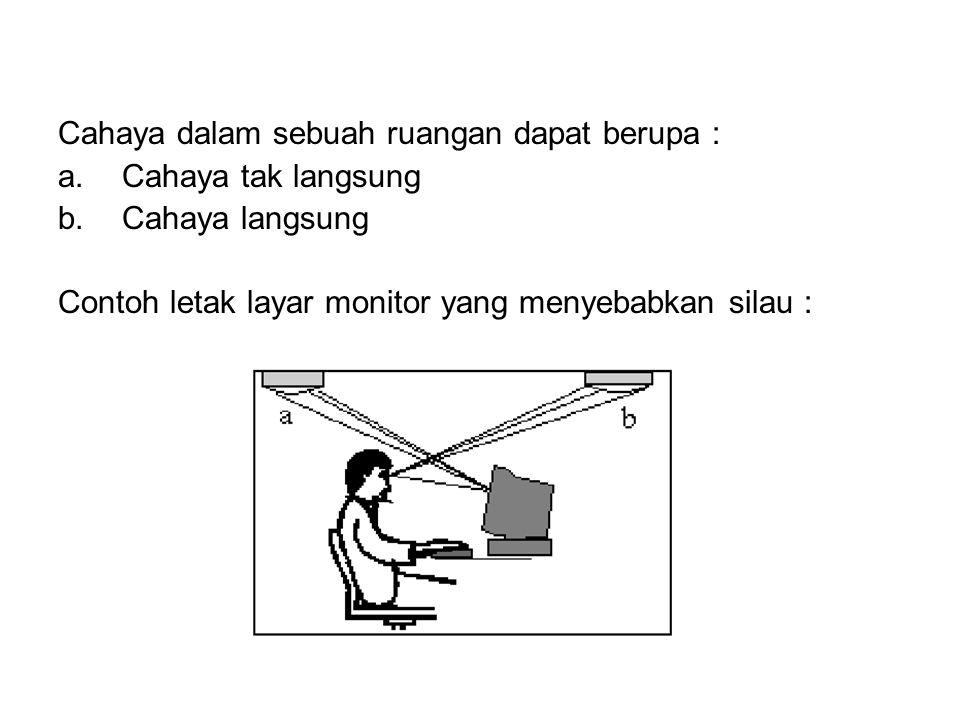 3. Pencahayaan •Untuk menghindari adanya kilau yang ditimbulkan oleh layar monitor adalah dengan memasang filter anti kilau dan pengaturan pencahayaan