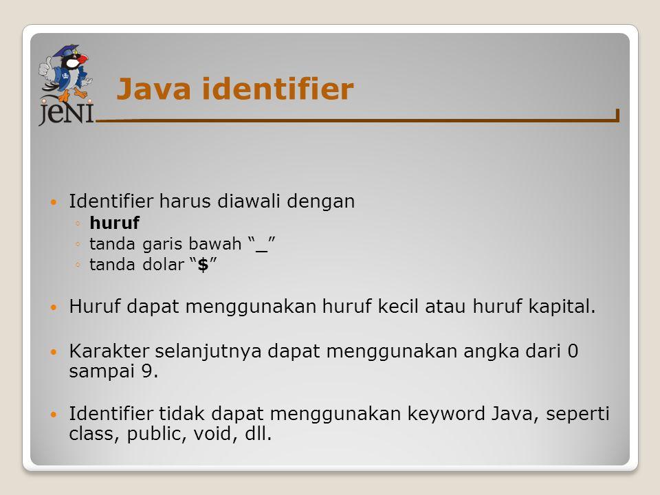 """Java identifier  Identifier harus diawali dengan ◦huruf ◦tanda garis bawah """"_"""" ◦tanda dolar """"$""""  Huruf dapat menggunakan huruf kecil atau huruf kapi"""