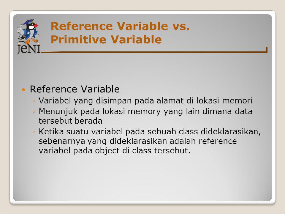 Reference Variable vs. Primitive Variable  Reference Variable ◦Variabel yang disimpan pada alamat di lokasi memori ◦Menunjuk pada lokasi memory yang