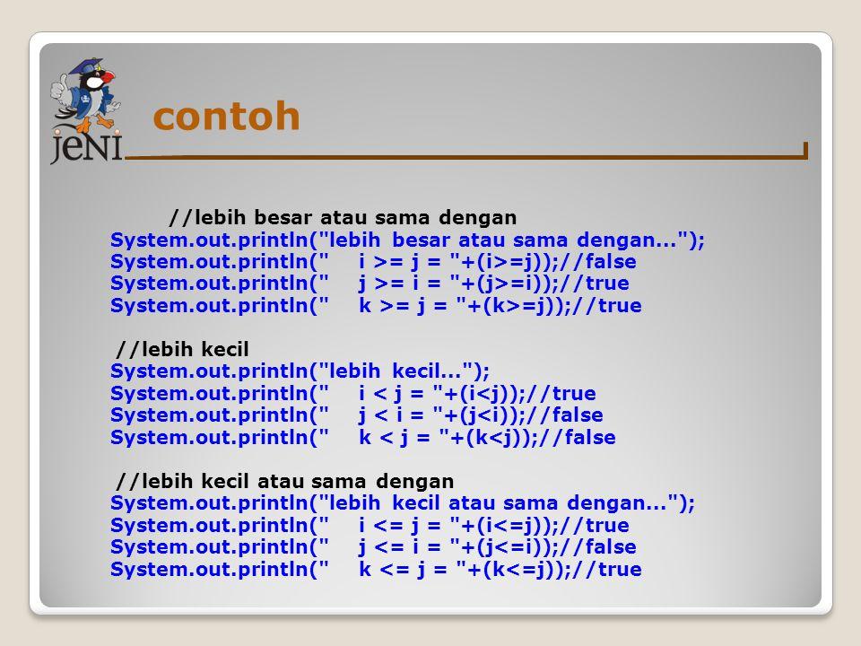 contoh //lebih besar atau sama dengan System.out.println(