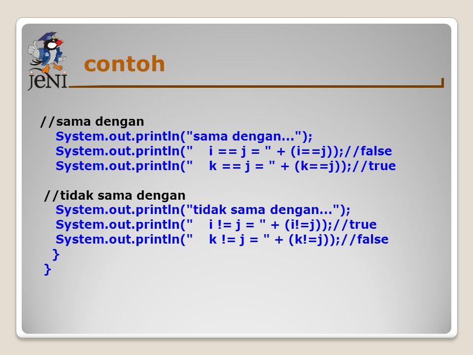 contoh //sama dengan System.out.println(