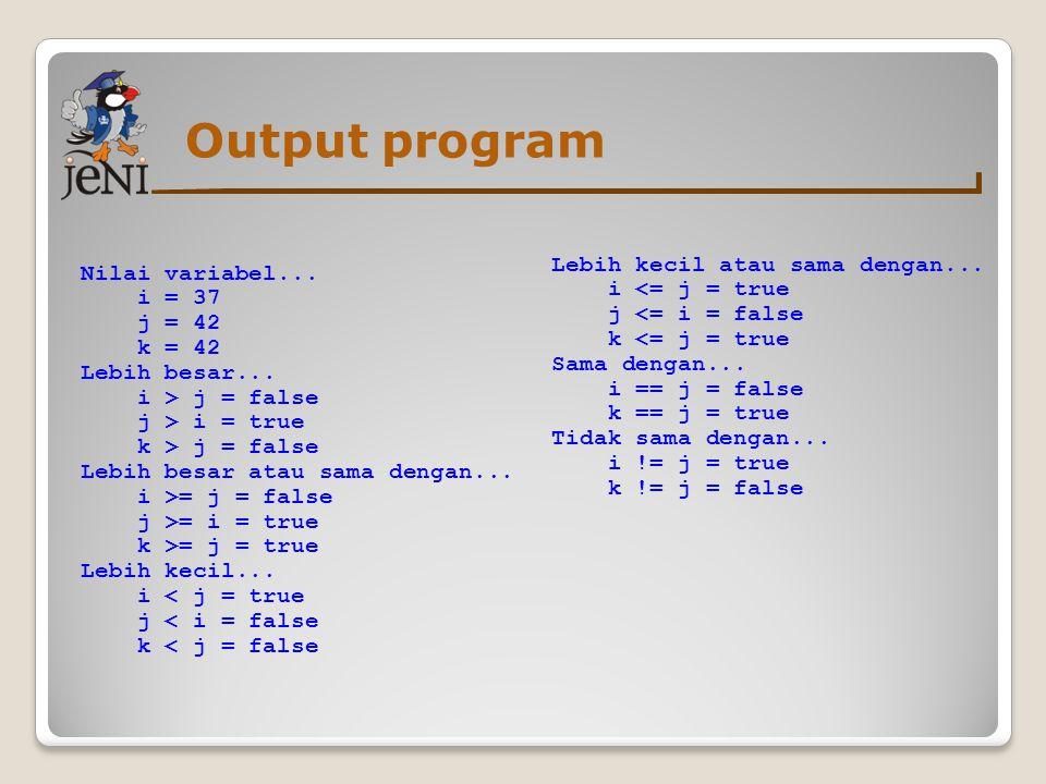 Output program Nilai variabel... i = 37 j = 42 k = 42 Lebih besar... i > j = false j > i = true k > j = false Lebih besar atau sama dengan... i >= j =