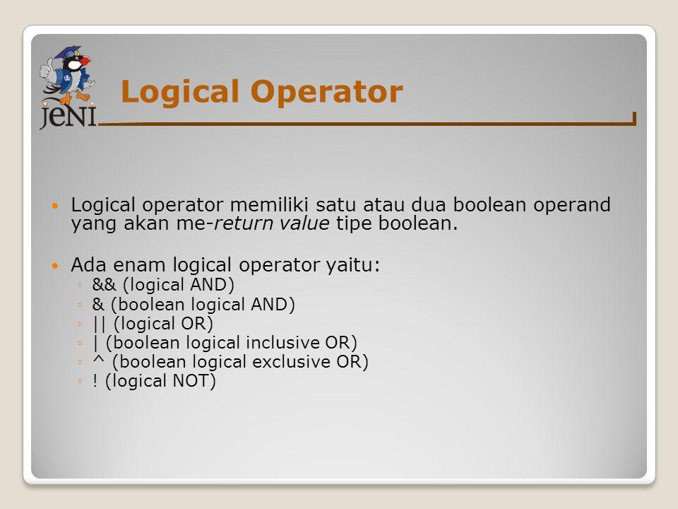 Logical Operator  Logical operator memiliki satu atau dua boolean operand yang akan me-return value tipe boolean.  Ada enam logical operator yaitu: