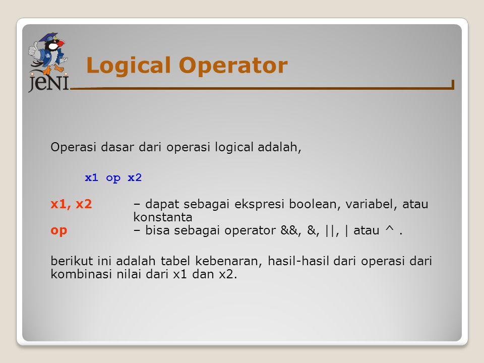 Logical Operator Operasi dasar dari operasi logical adalah, x1 op x2 x1, x2 – dapat sebagai ekspresi boolean, variabel, atau konstanta op – bisa sebag