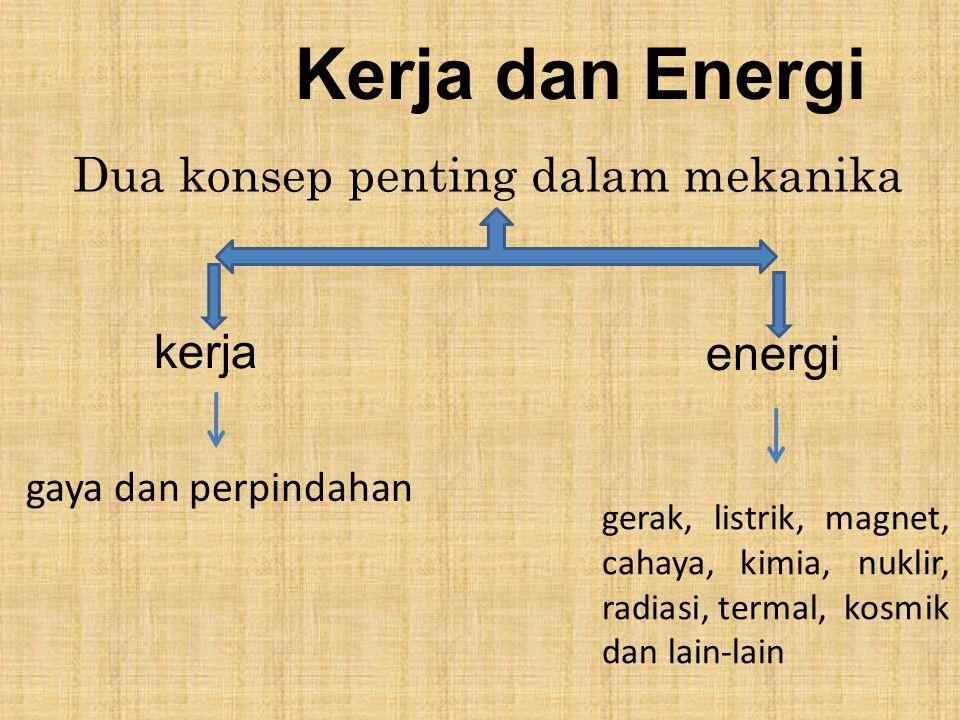 Kerja dan Energi Dua konsep penting dalam mekanika kerja energi gaya dan perpindahan gerak, listrik, magnet, cahaya, kimia, nuklir, radiasi, termal, k