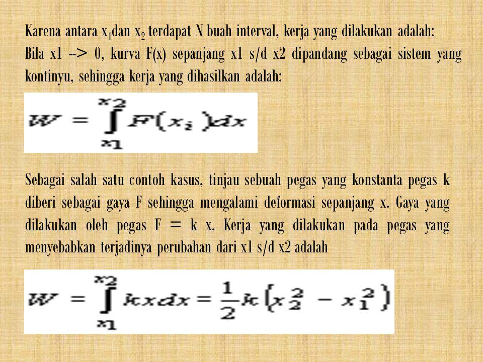 Karena antara x 1 dan x 2 terdapat N buah interval, kerja yang dilakukan adalah: Bila x1 --> 0, kurva F(x) sepanjang x1 s/d x2 dipandang sebagai siste