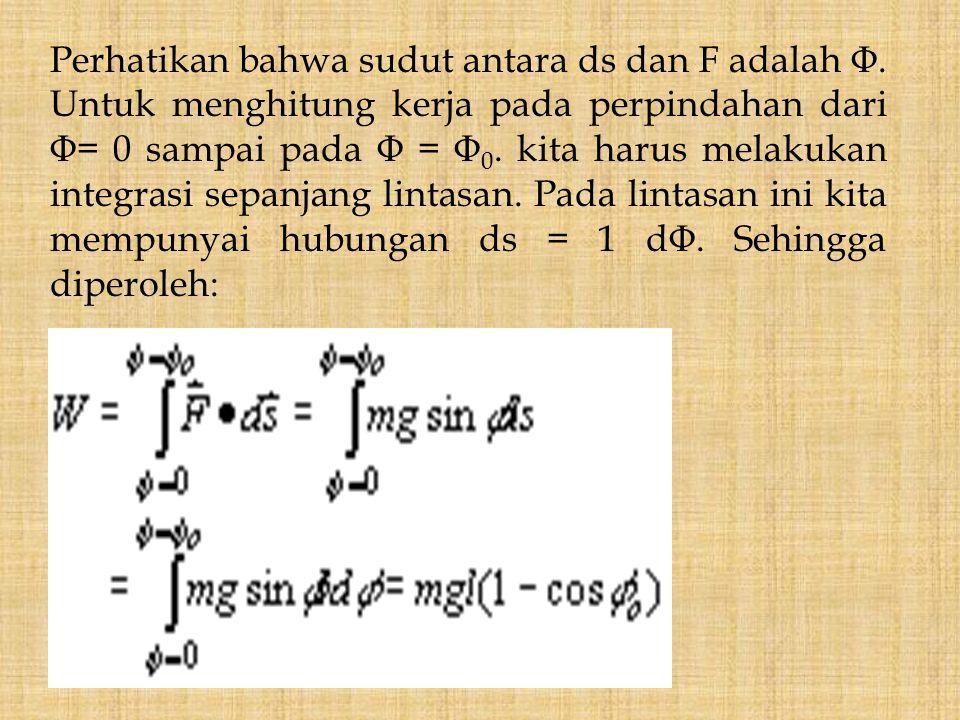 Perhatikan bahwa sudut antara ds dan F adalah Φ. Untuk menghitung kerja pada perpindahan dari Φ= 0 sampai pada Φ = Φ 0. kita harus melakukan integrasi