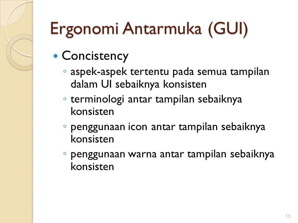 Ergonomi Antarmuka (GUI)  Concistency ◦ aspek-aspek tertentu pada semua tampilan dalam UI sebaiknya konsisten ◦ terminologi antar tampilan sebaiknya