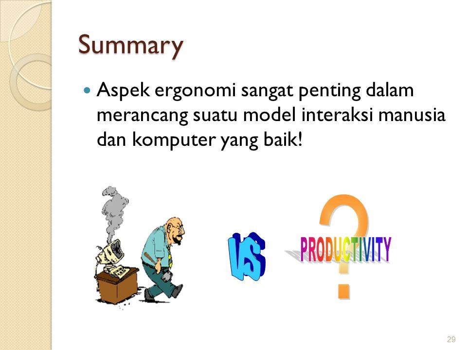 Summary  Aspek ergonomi sangat penting dalam merancang suatu model interaksi manusia dan komputer yang baik! 29