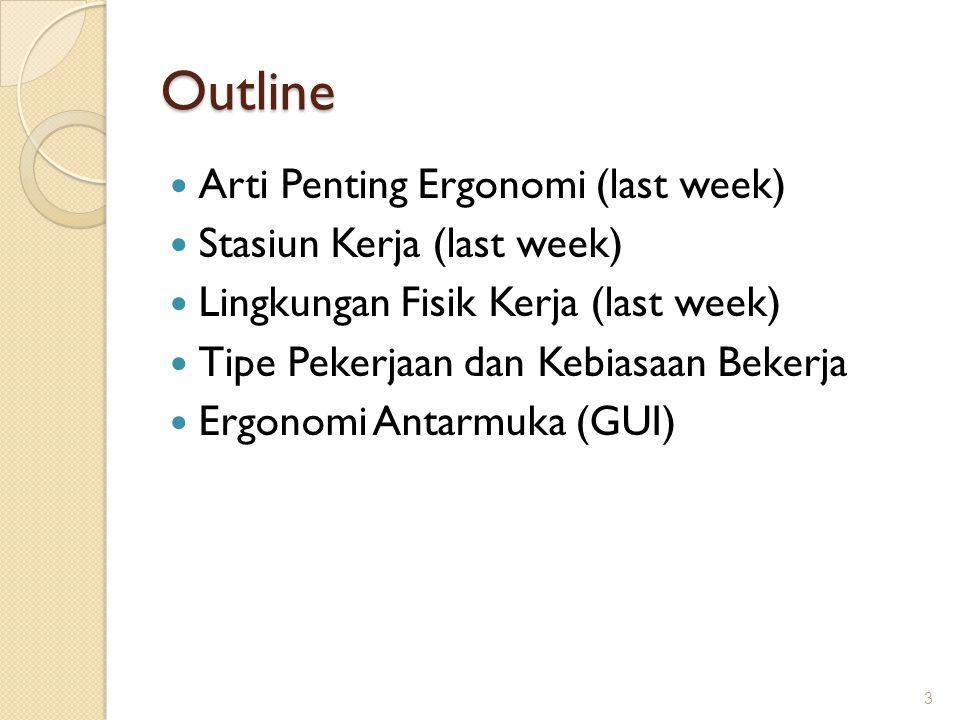 Outline  Arti Penting Ergonomi (last week)  Stasiun Kerja (last week)  Lingkungan Fisik Kerja (last week)  Tipe Pekerjaan dan Kebiasaan Bekerja 