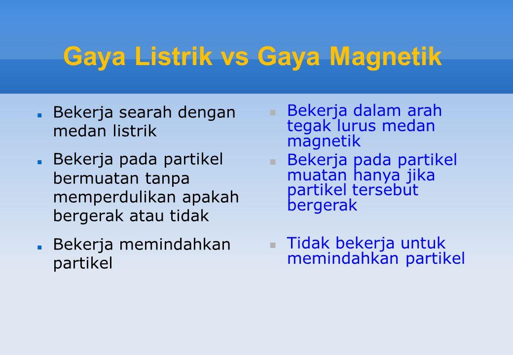 Gaya Listrik vs Gaya Magnetik  Bekerja searah dengan medan listrik  Bekerja pada partikel bermuatan tanpa memperdulikan apakah bergerak atau tidak 