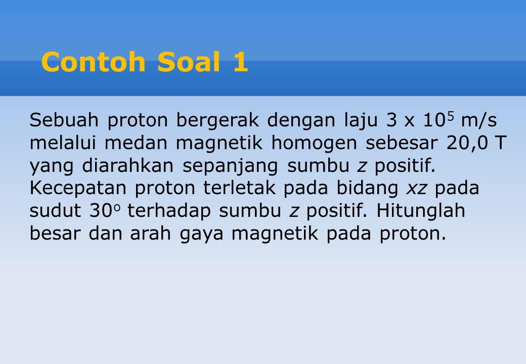 Contoh Soal 1 Sebuah proton bergerak dengan laju 3 x 10 5 m/s melalui medan magnetik homogen sebesar 20,0 T yang diarahkan sepanjang sumbu z positif.