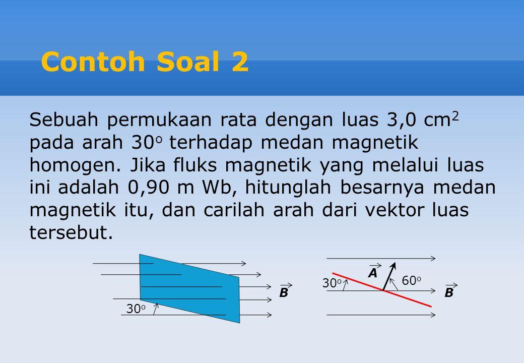 Contoh Soal 2 Sebuah permukaan rata dengan luas 3,0 cm 2 pada arah 30 o terhadap medan magnetik homogen. Jika fluks magnetik yang melalui luas ini ada