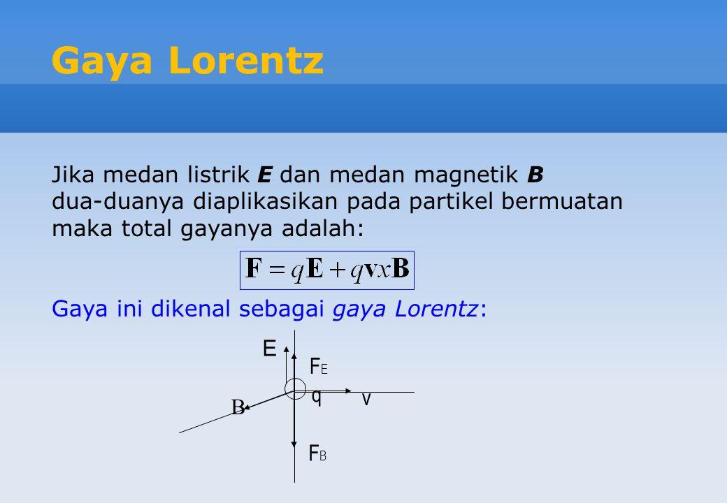 Gaya Lorentz Jika medan listrik E dan medan magnetik B dua-duanya diaplikasikan pada partikel bermuatan maka total gayanya adalah: Gaya ini dikenal se