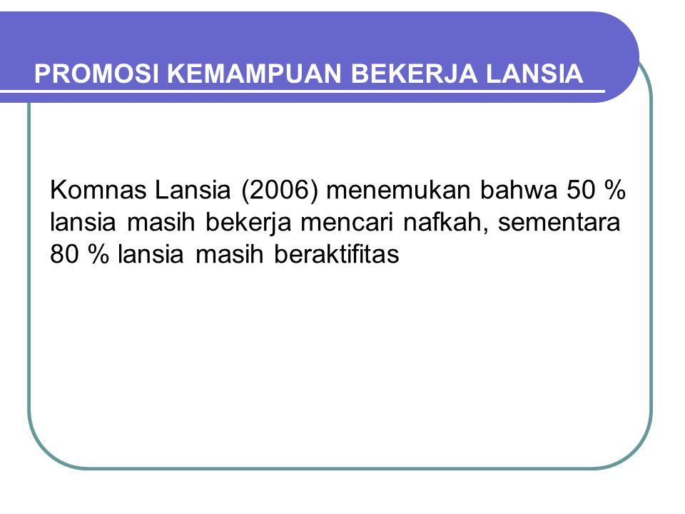 PROMOSI KEMAMPUAN BEKERJA LANSIA Komnas Lansia (2006) menemukan bahwa 50 % lansia masih bekerja mencari nafkah, sementara 80 % lansia masih beraktifitas