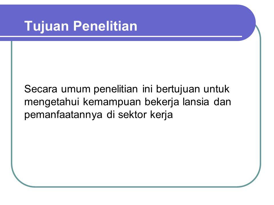 Tabel TPAK Lansia di DKI Jakarta, DIY, Jatim, Bali dan Sul-Teng (2008) Tabel : Tingkat Partisipasi Angkatan Kerja (TPAK) Lansia di DKI Jakarta, DIY, Jatim, Bali dan Sulteng 2008 TPAK Lansia (60+) DKI Jakarta……% DIY20.4 % Jatim48.9 % Bali18.7 % Sulteng…….% Sumber: * BPS DKI Jakarta, DIY, Surabaya, Bali dan Palu, 2008 ** Hasil Penelitian Promosi Kemampuan Bekerja Bagi Lansia , Komnas Lansia, 2009
