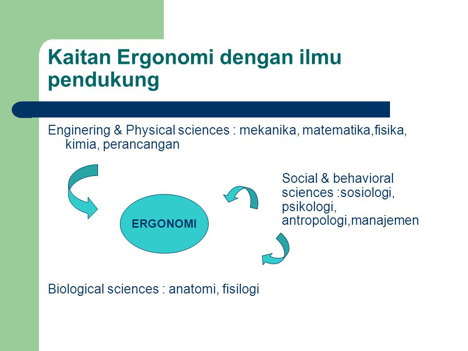 Kaitan Ergonomi dengan ilmu pendukung Enginering & Physical sciences : mekanika, matematika,fisika, kimia, perancangan Social & behavioral sciences :sosiologi, psikologi, antropologi,manajemen Biological sciences : anatomi, fisilogi ERGONOMI